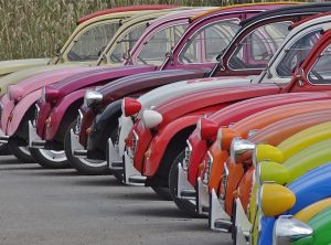 Rainbow coloured cars