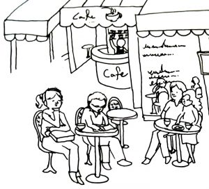 cafe in line art