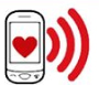 Phone and heart cartoon