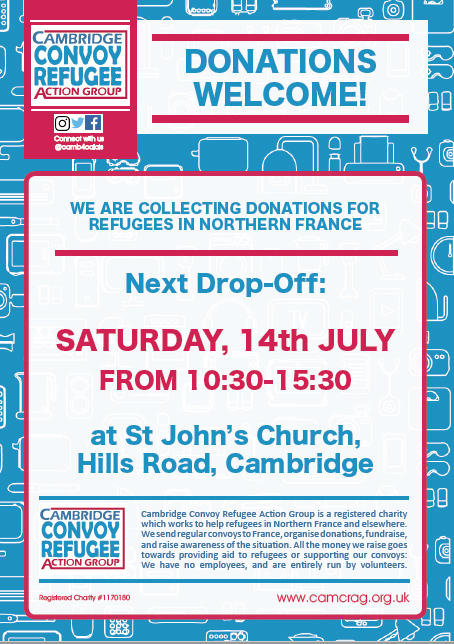 Poster for Donations Drop at St John's 14 July