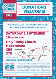 donations drop flyer Haddenham Sep 2018 front