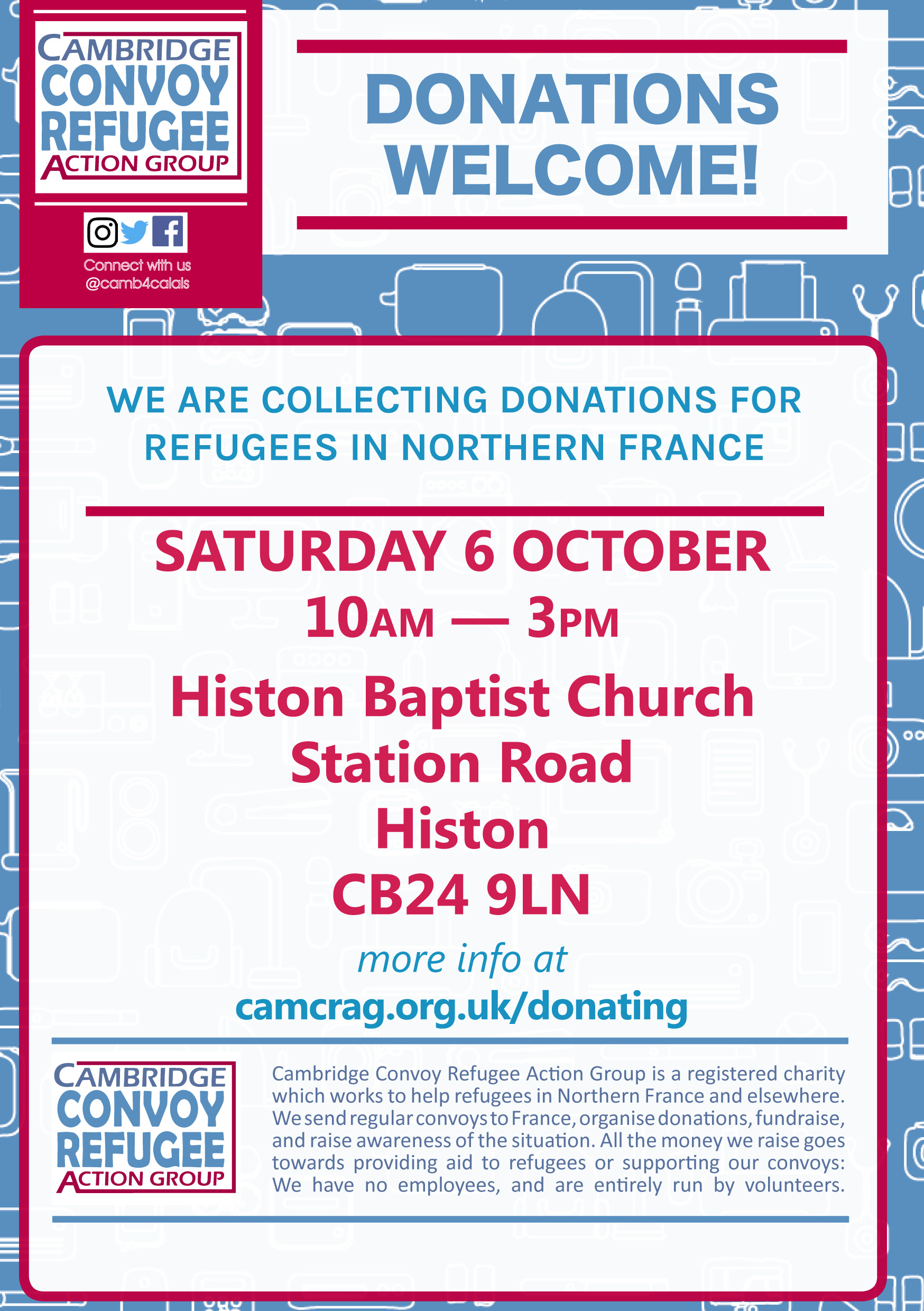 donations drop flyer Histon front