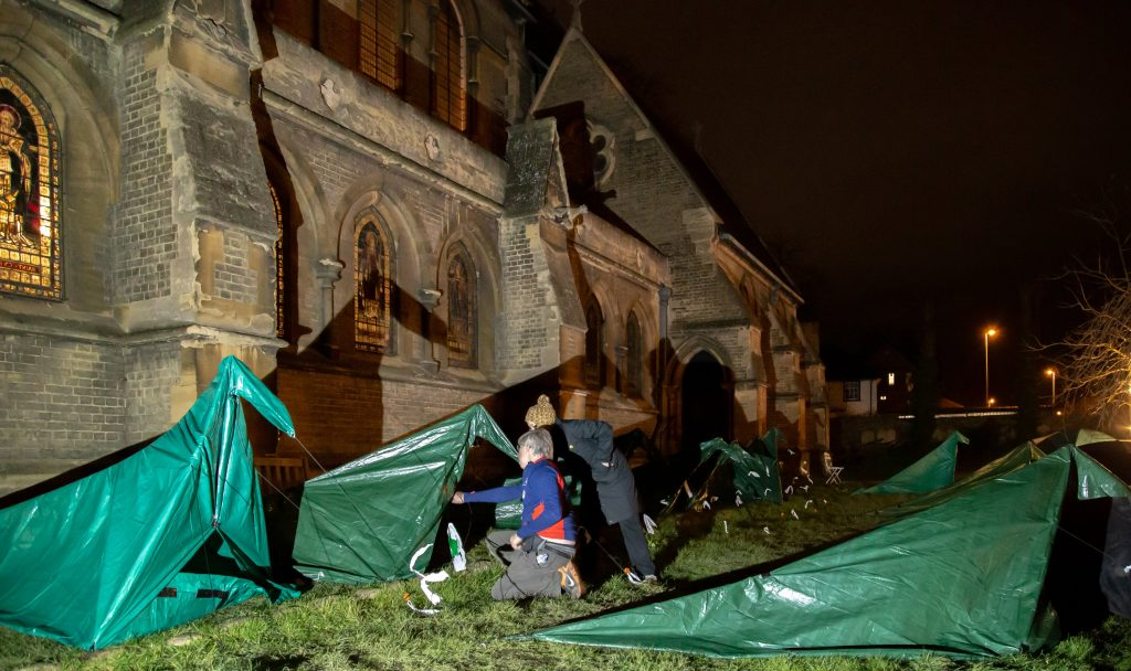 SOS Tents outside church