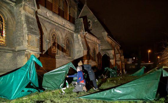 SOS tents outside church