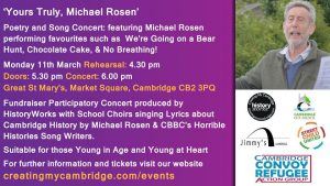 'Yours Truly' Michael Rosen – poetry and song concert