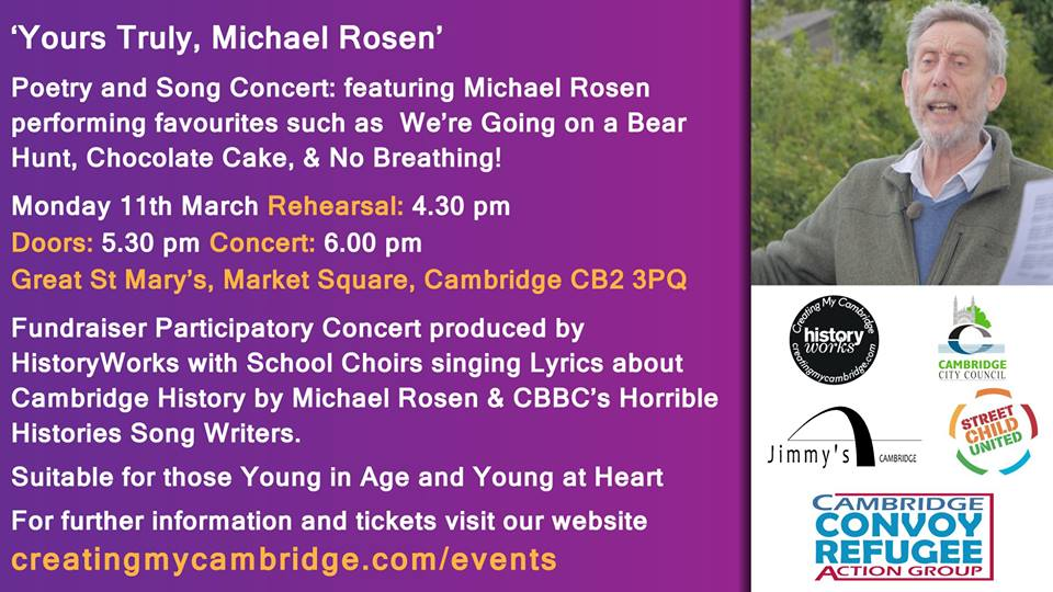 Michael Rosen Yours Truly event poster